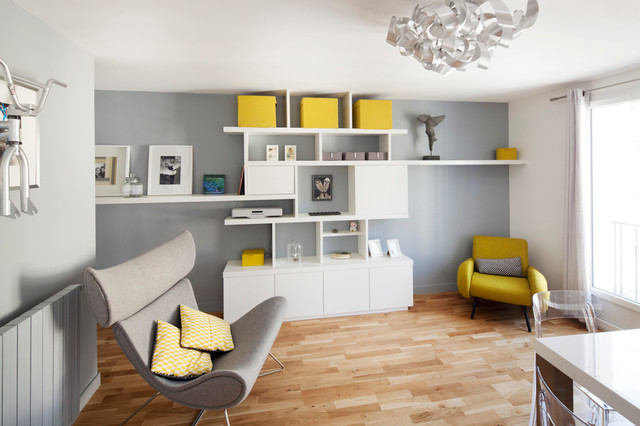 photos d'agencement sur-mesure / made-to-order shelving contemporary-family-room