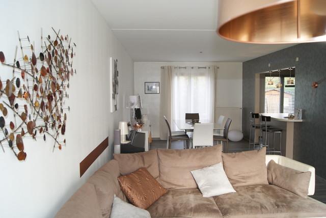 projet ambiance cuivre argent noir blanc contemporain salle de s jour nancy par c. Black Bedroom Furniture Sets. Home Design Ideas