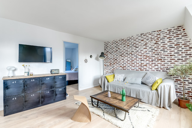PROJET COLOMBES architectes: Carla Lopez et Margaux Meza - Contemporary - Family \u0026 Games Room - Paris - by Transition Interior Design & PROJET COLOMBES architectes: Carla Lopez et Margaux Meza ...