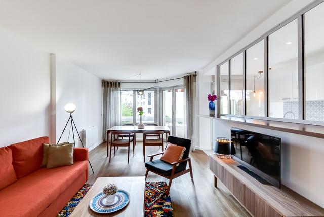 r novation appartement courbevoie 60m2 contemporaneo salotto parigi di gommez va z. Black Bedroom Furniture Sets. Home Design Ideas