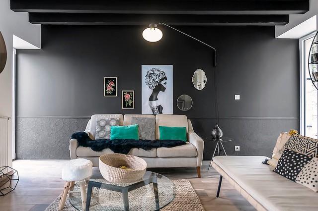 renovation complete d 39 une demeure de caractere du xixeme siecle contemporain salle de s jour. Black Bedroom Furniture Sets. Home Design Ideas
