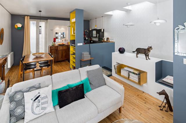 Renovation complete d 39 une maison de ville contemporain for Une salle de sejour