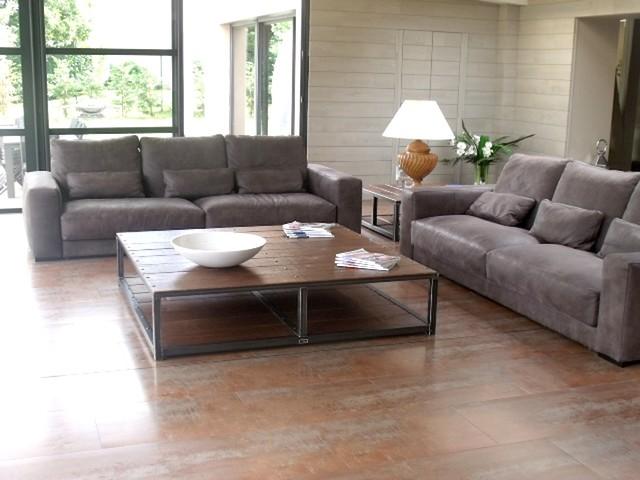 Salon au style industriel bois métal , Industriel , Salle de