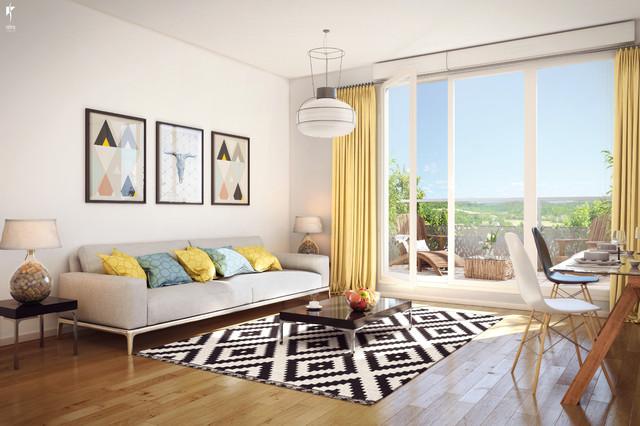 Salon lumineux avec terrasse dans appartement neuf - Modern ...
