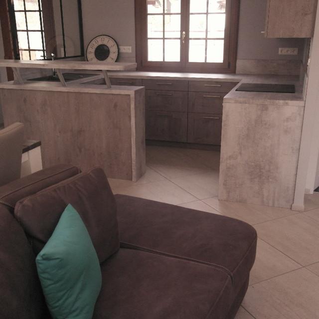 salon salle manger cuisine style industriel. Black Bedroom Furniture Sets. Home Design Ideas