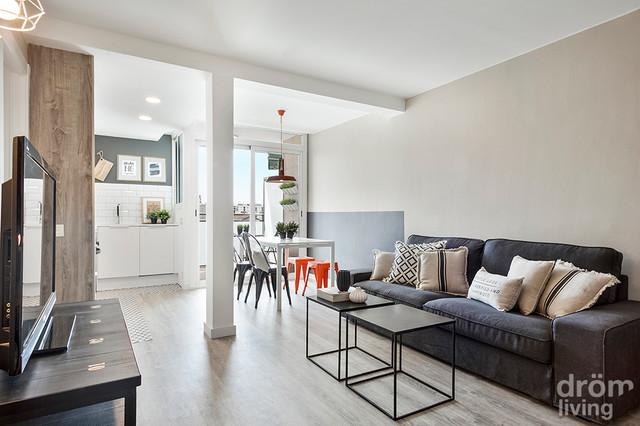 Interiorismo apartamento en barcelona n rdico sal n - Interiorismo pisos pequenos ...