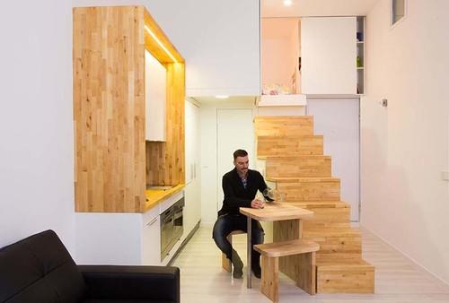 Vivere in 28 metri quadri con tutti i comfort dilei for B b soggiorno madrid