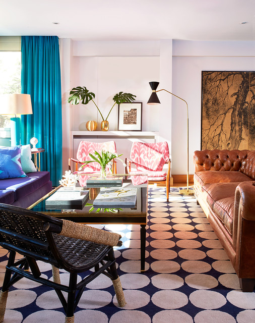 Inspiration for a mid-sized contemporary formal and open concept carpeted living room remodel in Madrid with white walls, no fireplace and no tv