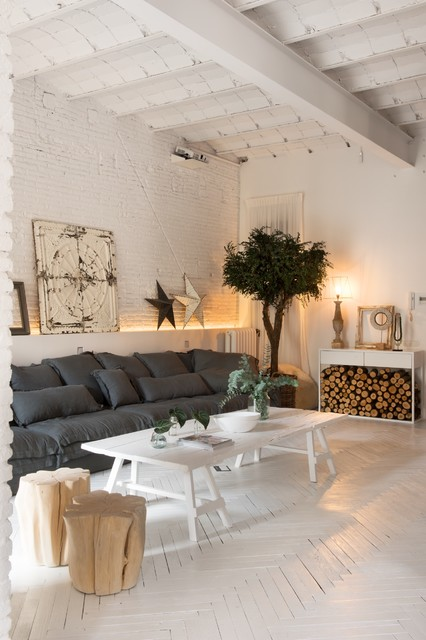 Inspiration for a mid-sized scandinavian open concept and formal painted wood floor living room remodel in Other with white walls and no tv