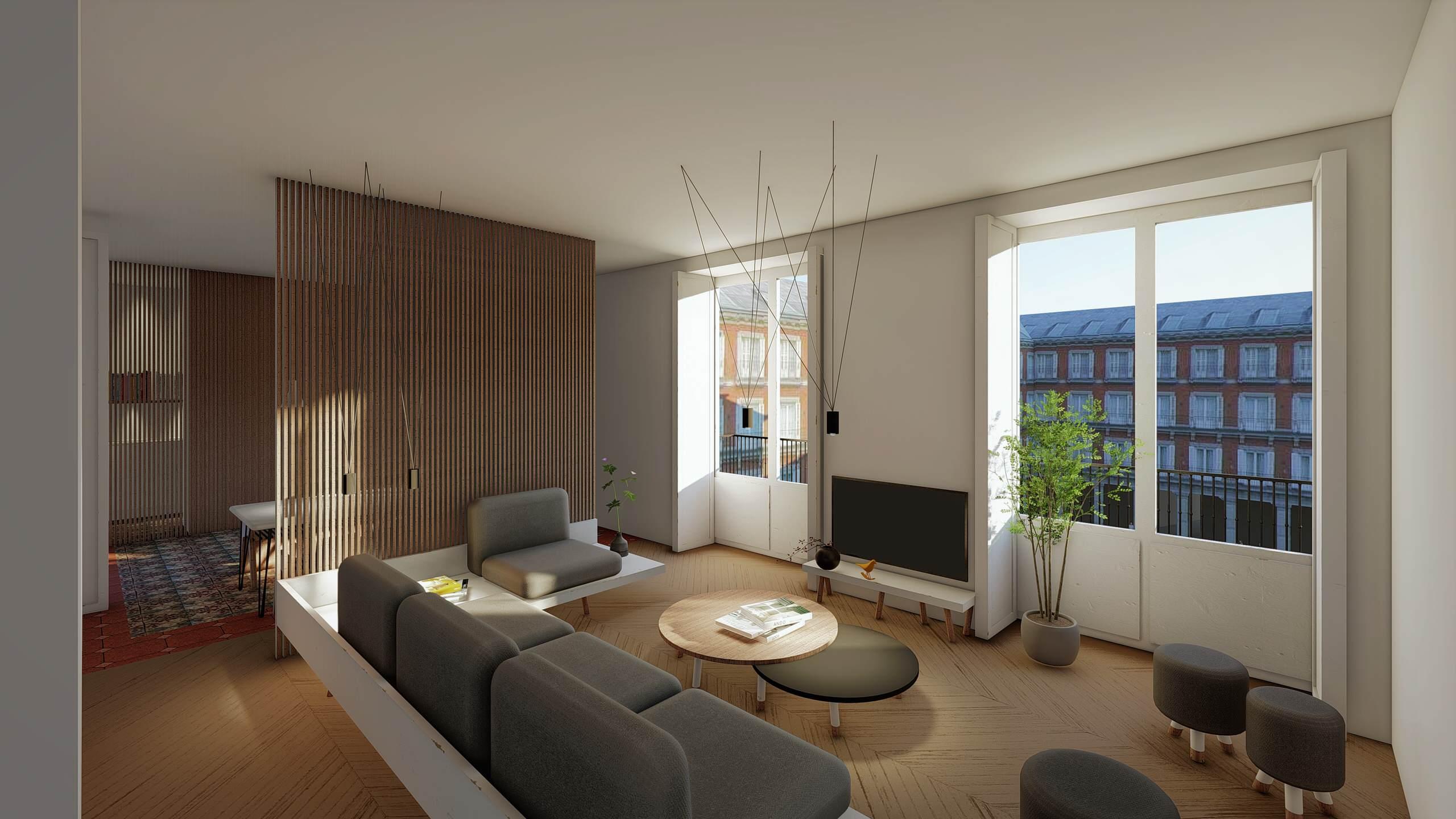 Salón con madera noble y grandes vistas