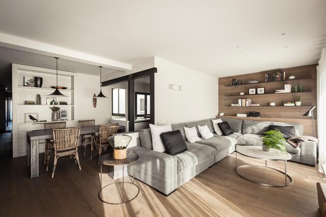 un piso dos ambientes contemporaneo salon - Interiorismo Salones