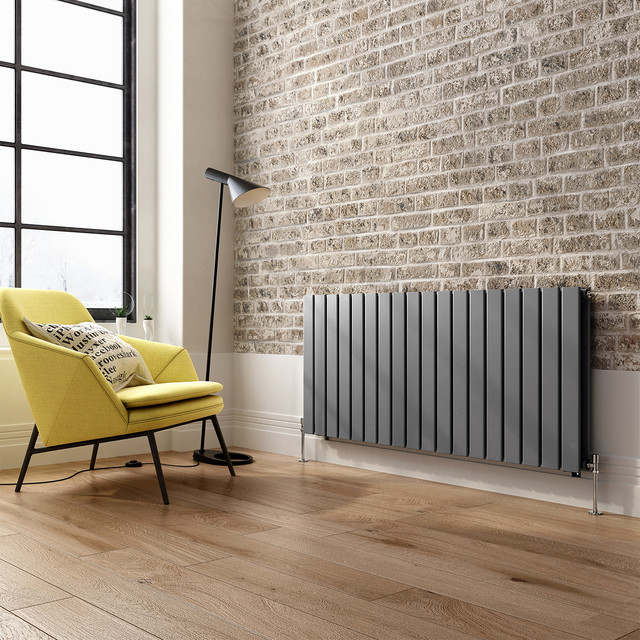 600x1380mm anthracite double flat panel horizontal radiator hayes premium contemporary for Contemporary radiators for living room