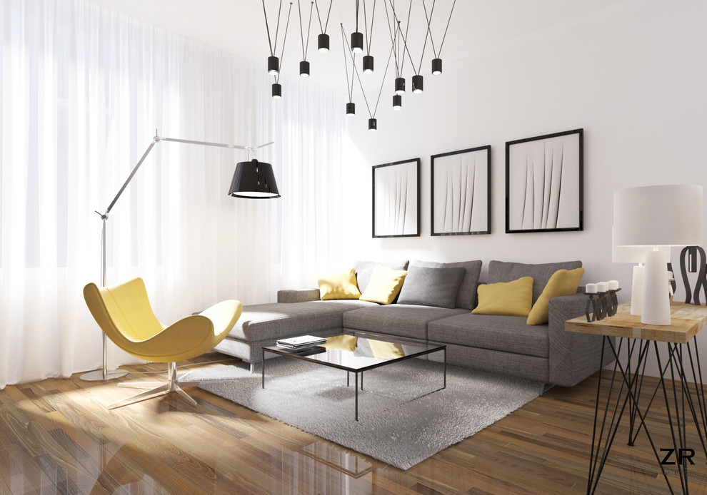 Inspiration for a small modern open concept medium tone wood floor living room remodel in Brussels with white walls, no fireplace and a wall-mounted tv
