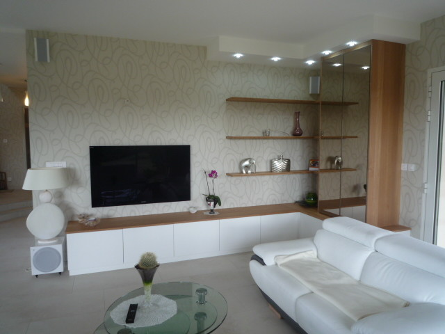 Amenagement Cuisine Et Salon Contemporary Living Room