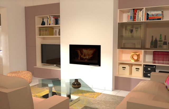 AMENAGEMENT ESPACE SALON/CHEMINEE VILLA MAUGUIO   Contemporain   Salon    Montpellier   Par MUST MOBILIER