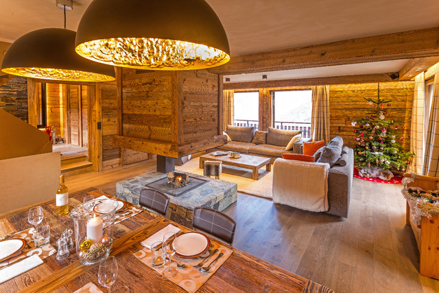 Am nagement et d coration d 39 un chalet contemporain for Decoration interieur style chalet