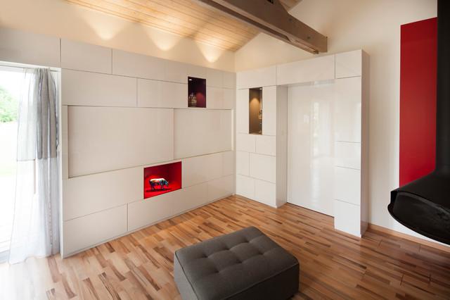 Aménagement pièce de vie : création d\'un mur bibliothèque ...
