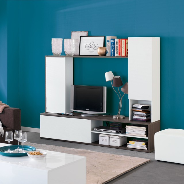 Amparo grand meuble tv fixer au mur moderne salon - Meuble tv fixe au mur ...