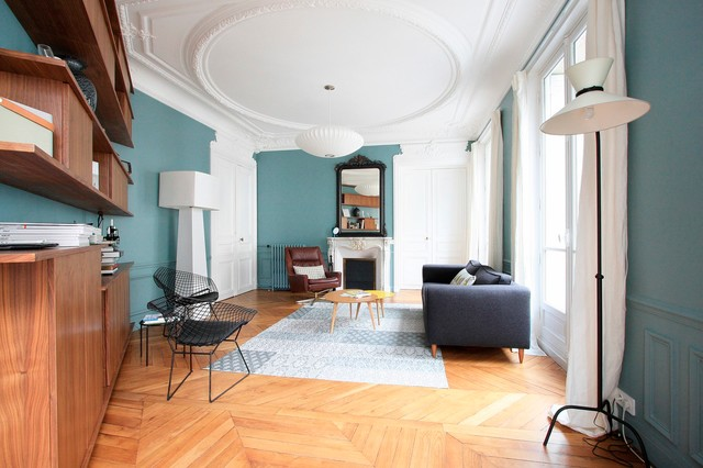 Appartement haussmannien contemporain salon paris for Decoration appartement haussmannien