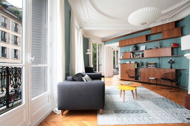 Appartement haussmannien contemporain salon paris for Decoration interieur haussmannien