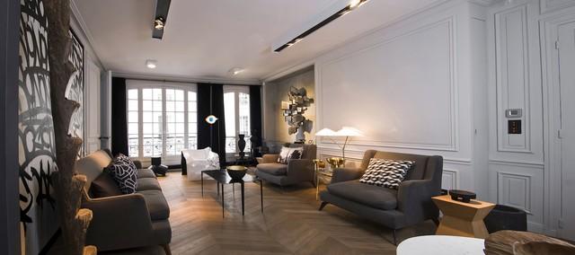 Appartement rue de bretagne paris 3 contemporain salon paris par logarchitecture - Salon art contemporain paris ...