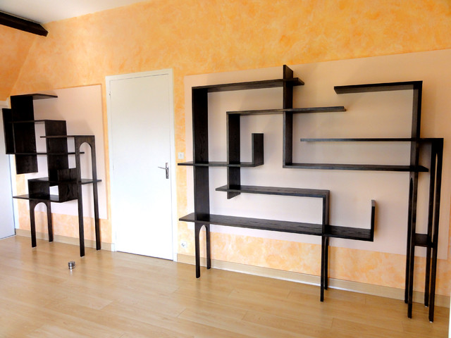biblioth que murale moderne salon lyon par marie. Black Bedroom Furniture Sets. Home Design Ideas