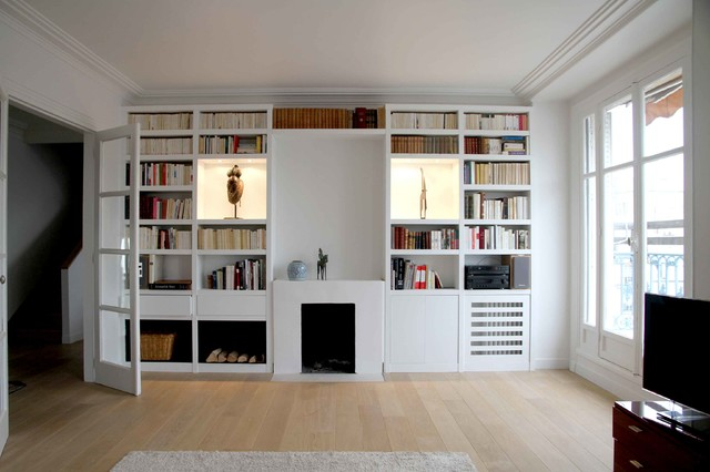 Bibliotheque sur mesure medium laque blanc contemporain salon paris p - Bibliotheque sur mesure paris ...