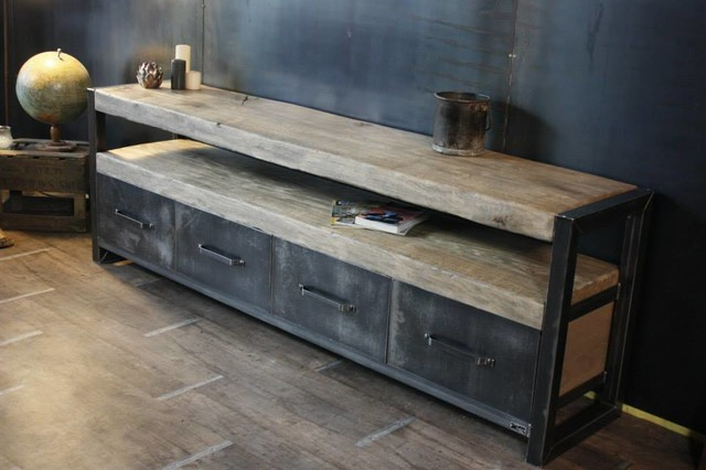 Buffet bois brut industrial living room other metro - Meuble tv bois brut ...