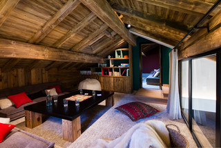 Chalet Meribel rustico-salon