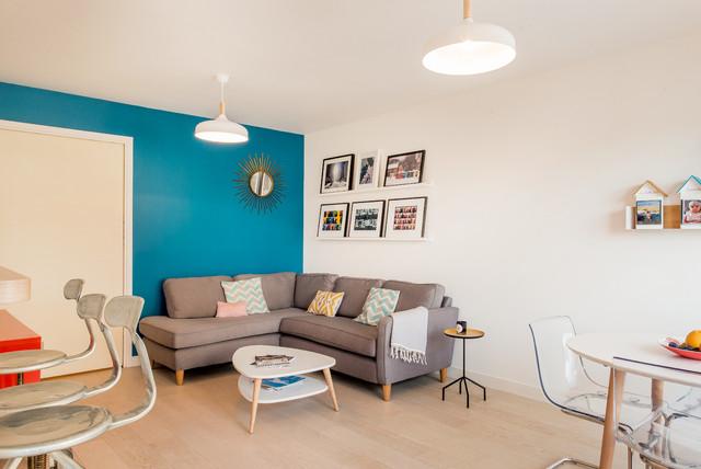 Salon et cuisine ouverte avec terrasse / Paris 17ème - Modern ...