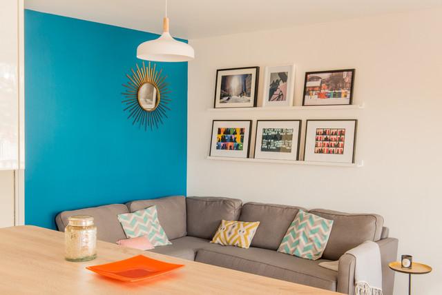 Salon et cuisine ouverte avec terrasse paris 17 me - Deco salon et cuisine ouverte ...