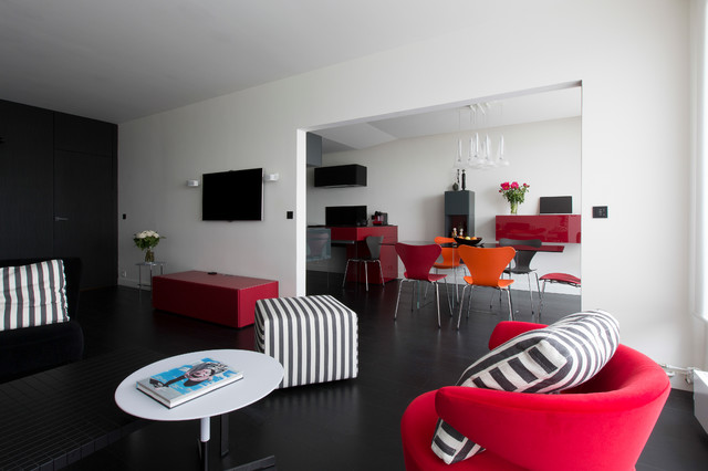 cuisine salon et chambre th matique rouge et noir. Black Bedroom Furniture Sets. Home Design Ideas
