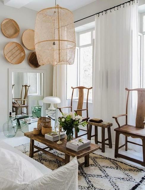 Decoration Ethnique Noir Et Blanc Tropical Living Room Bordeaux By Cabane Indigo