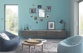 Salon scandinave avec un mur bleu : Photos et idées déco de ...