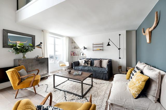 Duplex République - Industriel - Salon - Paris - par am Alexandra Magne