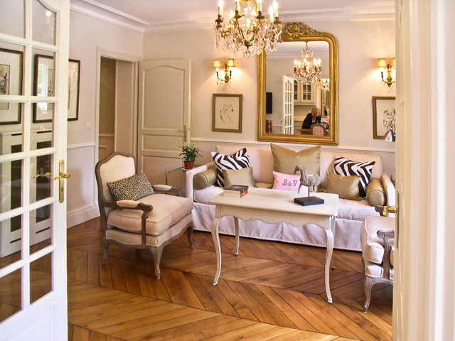 French Provincial Apartment in Paris contemporary living room  Contemporary Living Room