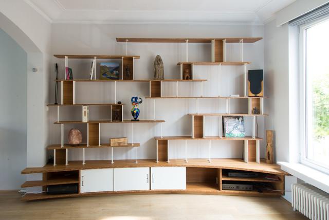 Grande bibliothèque intégrée - Contemporary - Living Room ...