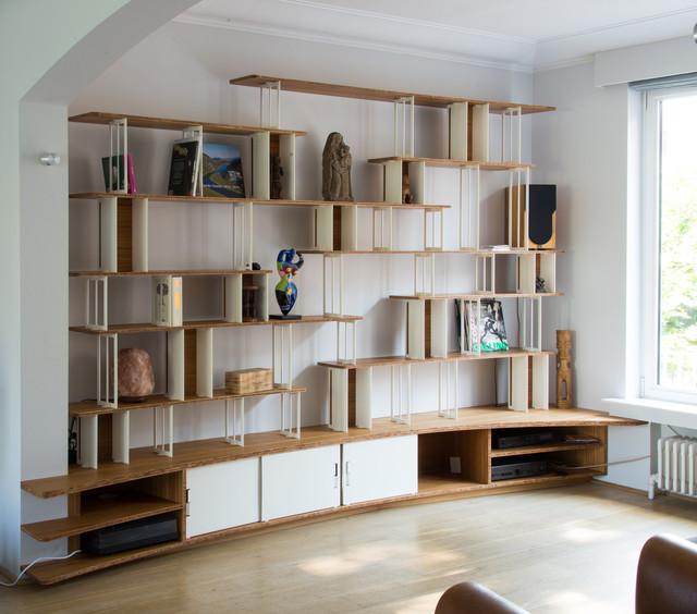 Grande bibliothèque intégrée - Contemporain - Salon - Bruxelles ...