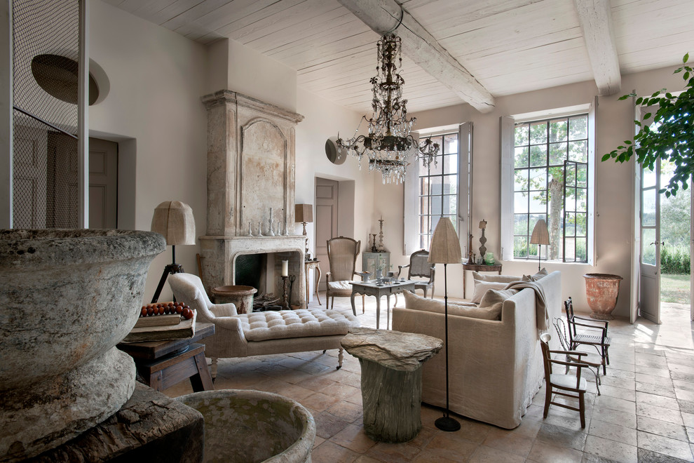 Inspiration for a large country formal and open concept living room remodel in Nice with white walls, a standard fireplace, no tv and a stone fireplace