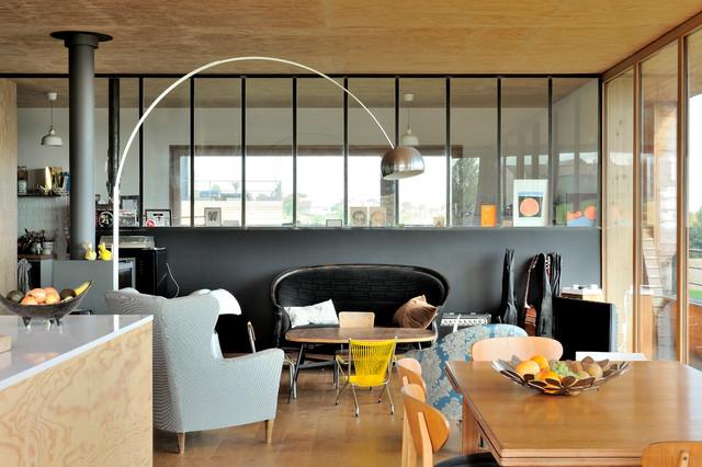 Maison contemporaine béton/bois - Contemporary - Living Room - Lyon ...
