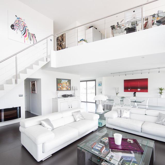 Maison individuelle m rignies contemporain salon for Architecture salon maison