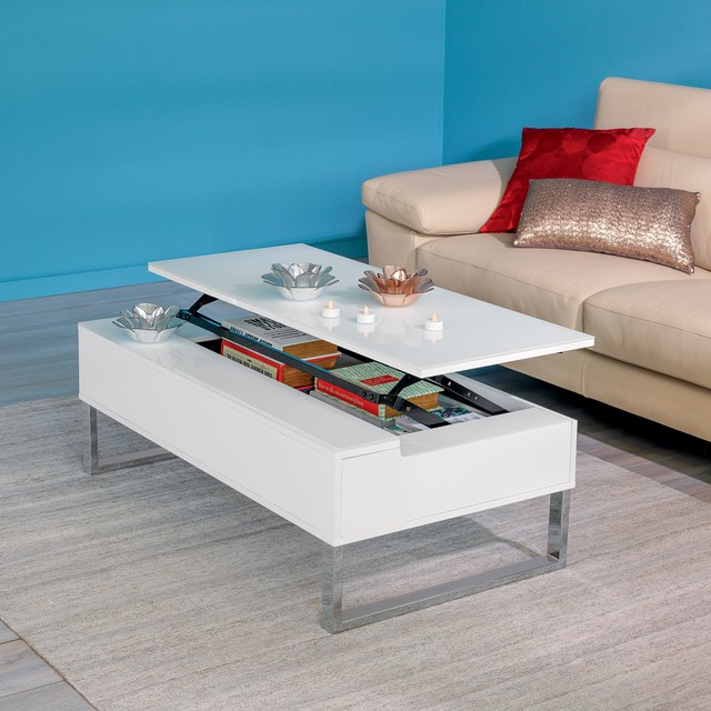 Novy table basse avec tablette relevable blanche for Table a manger de salon