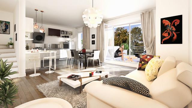 Open Space salon - salle à manger et cuisine avec balcon ...