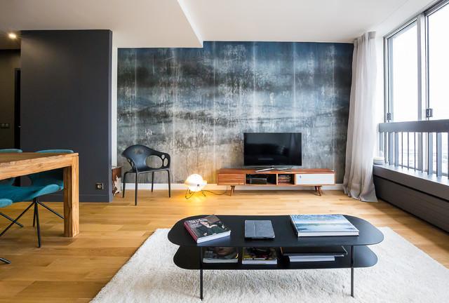 Paris xv appartement 55m2 contemporain salon paris for Decoration appartement contemporain