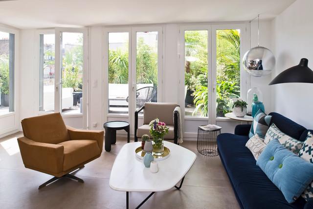 Penthouse in paris contemporain salon paris par julien clapot - Salon art contemporain paris ...