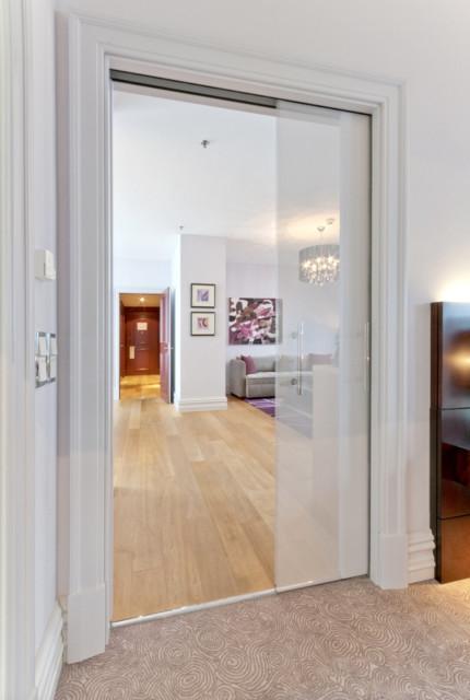 Porte Verre Coulissante A Galandage Luce Extension Moderne Salon