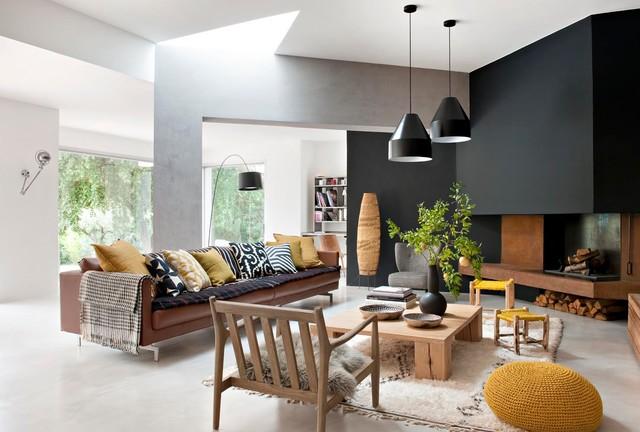 R novation d 39 une maison des ann es 80 contemporary living room othe - Architecture des annees 80 ...