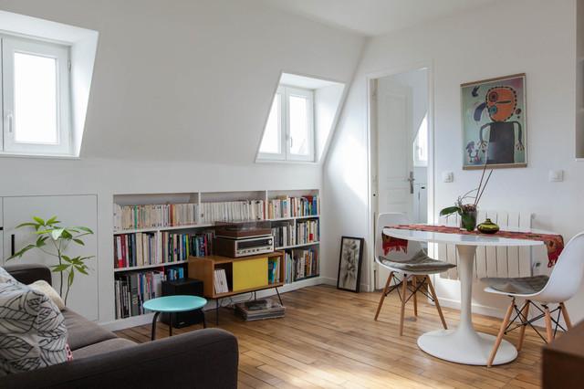 Restructuration appartement rue oberkampf paris 11 contemporain salon paris par - Salon art contemporain paris ...