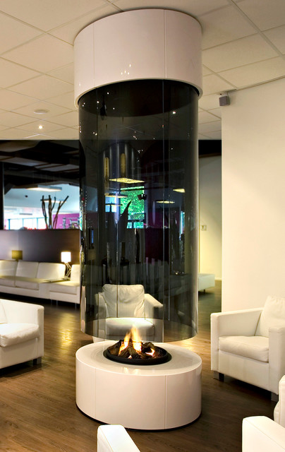 Round Fireplace Contemporary Living Room Other Metro