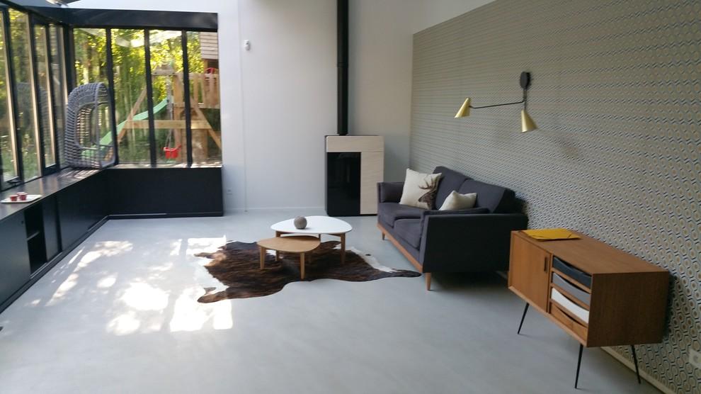 Salon béton ciré couleur gris rome